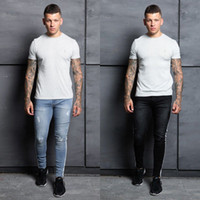 New Men' s Jeans Casual White Side Atripe Slim Pencil Pa...