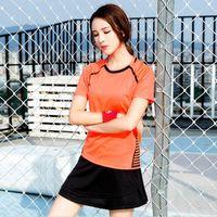 Damen Sommer Badminton Jersey Sets Polyester Training Sportbekleidung Shirt Sport atmungsaktive Rock Frau Team Badminton Uniformen