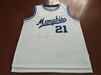 Benutzerdefinierte Männer Jugend Frauen Vintage-MS White # 21 Larry Finch Startseite RETRO Basketball-Jersey-Größe S-4XL oder benutzerdefinierten beliebigen Namen oder Nummer Jersey