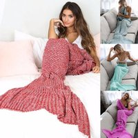 Mermaid Tail Sofa Blanket Super Soft Warm Hand Crocheted Kni...