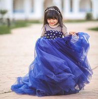 Royal Blue Flower Girl Dresses With Sheer Neck Tulle Mezze maniche a strati Gonne Girls Pageant Dress Beads Appliques Kids Party Gowns