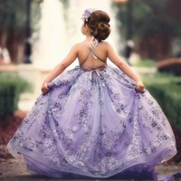 Princesa de encaje de flores vestidos de las muchachas Boho Spaghetti Straps apliques Sexy Backless Kids Birthday Party Dress por encargo Girls Pageant Dress