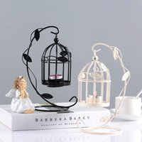 Creativa Birdcage Tealight vela titular romántica hierro jaula de pájaros de la linterna colgantes por un banquete de boda de la decoración del hogar Blanco Negro