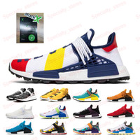 2019 raça Pharrell Williams Humano BBC Mens Women Running Shoes preto Nerd Creme Solar Pacote de Esportes Shoe Size 36-45