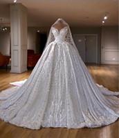 Matrimonio di lusso Abiti spalle una linea di appliques del merletto Perline di cristallo Vestido De Novia Plus Size Robe de mariée