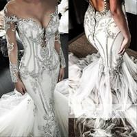 2020 manches longues robes de mariée sirène paillettes cristal perlé luxe plus la taille robe de mariée balayage train pure bijou cou robe De Novia