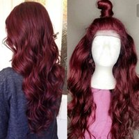 Human Hair Wig 99J Brazilian Burgundy Red Lace Front Wigs Vi...