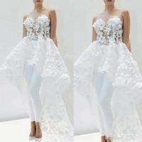 SpitzeApplique Braut Jumpsuits mit Zug für Frauen-elegante 2020 3D Floral Abnehmbare Rock White Wedding Hosenanzug Kleid