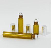 200pcs DHL 3ML 5ml 10ML Mini Roll On di vetro profumo bottiglia di profumo ambrato Brown Vetro Spesso BOTTIGLIE OLIO ESSENZIALE acciaio da hope12