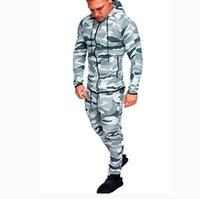 2019 Autumn Men' s Running Sets Camo Printed Two Piece S...