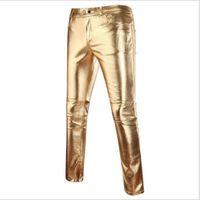 2019 zomer nieuwe effen kleur glanzende paar helder oppervlak imitatie lederen broek hot stempelen casual broek mannelijke goud zilveren harembroek