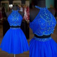 Perlé 2 pièces robe de bal avec décolleté de licou tulle sexy robe de retour Homecoming robe de remise des diplômes bleu rouge rouge