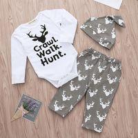 Noel Bebek Kıyafetleri Elk Baskılı Bebek Boy Romper Pantolon Şapka 3PCS Pamuk Bebek Kız ayarlar Moda Bebek Giyim DW4503 Takımları