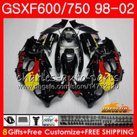 Körper für Suzuki Katana GSXF 750 600 GSXF600 98 99 00 01 02 Gelbrot 2HC.22 GSX750F GSX600F GSXF750 1998 1999 2000 2001 2002 Verkleidungsset