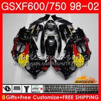 Cuerpo para Suzuki Katana GSXF 750 600 GSXF600 98 99 00 01 02 Rojo amarillo 2HC.22 GSX750F GSX600F GSXF750 1998 1999 2000 2001 2002 Kit de carenización