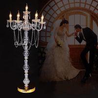 """Düğün dekor için çiçek kase 10 adet / lot 31"""" altın bandı 6 kol şamdan merkezinde"""