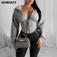 Femmes Automne manches longues Sweats à capuche zippé Casual solide Sweat Slim Corset Sport Workout Jacket Gym