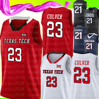 Nuevo 23 Jarrett Culver Texas Tech Jersey 2019 Final Four TTU Rojo Blanco jerseys del baloncesto TTU Rojo Blanco jerseys