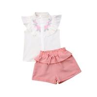 2019 ребенок девочка цветочный топы рубашка без рукавов розовый желтый короткий брюки 2шт костюмы установить в загородном стиле летняя повседневная одежда для девочек