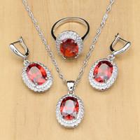 925 Set di gioielli in argento 925 Red Birthstone Bianco CZ per le donne Gioielli in argento sterling sterling per orecchini da donna Gocce spedizione