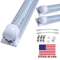 T8 V shaped 8ft led tube lights integrated 8 foot cooler door lighting double row shop lights fixture plug and play