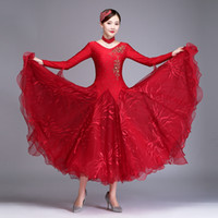 Personalizza New 2 color women Ballroom Competition Dress a manica lunga Modern Waltz Tango Dance Dress rosso Costumi di danza