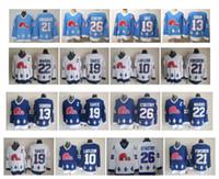 빈티지 퀘벡 Nordiques 저지 13 매트 Sundin 19 Joe Sakic 21 Peter Forsberg 26 Peter Stastny 22 Mario Marois Blue White CCM Hockey Jersey