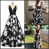 Elegant Formal Evening Dresses Gowns with Pockets Floral Pri...