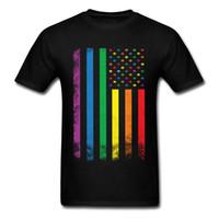 Hommes arc-en-Drapeau américain T-shirt Fierté gaie T-shirt lesbienne T-shirt coloré rayé Tops Hip Hop Vintage T-shirts Vêtements femme