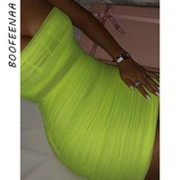 BOOFEENAA Sheer Mesh Neon Green Ruched Bodycon Dress Bandage Mini abiti Summer Party Night Club Womens Dress 2019 C55-G65