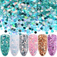 6 Pz / set Glitter per unghie Magic Color Flash Paillette in polvere Terapia di colore rosa brillante Strumenti per trucco con smalto rosa