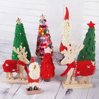 Decorações De Natal De madeira Feito À Mão Sentiu Bola De Folhas De Árvore De Natal Artificial Papai Noel Elk Natal Desktop Ornaments
