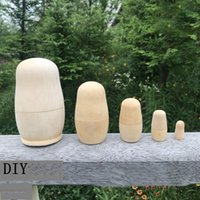 Bonecas de nidificação russas de madeira 5 pçs / set seminted DIY em branco Madryoshka Dolls brinquedos presentes DIY Handicraft Kka7630