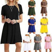 Elbiseler Nokta 2021 Avrupa Katı Renk Rahat Yuvarlak Boyun Elbise Kazak Kısa Kollu Rahat Sokak Elbise, Destek Karışık Toplu