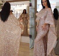 Bling rose ouro lantejoulas sereia vestidos de noite desgaste ilusão pescoço árabe Médio oriental vestidos personalizados plus tamanho formal vestidos de baile