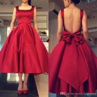 Red Tea Length Ball Gown Prom Dresses With Big Bow Backless ...