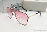 1 adet Yeni 2180 büyük çerçeve Tasarımcı güneş gözlüğü metal çerçeve marka kadın Kalkan gözlükleri tam paket