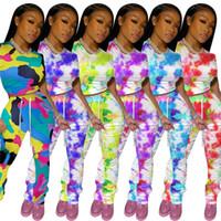 Les femmes deux pièces Outfit T-shirt et Hauts Rogner Pantalons plissés Leggings Survêtement camouflage Tie Dye couleur Costumes Vêtements décontractés Mode de D8408