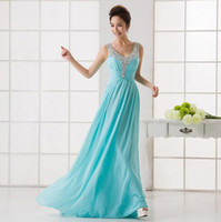 V- Neck Bridesmaid Dresses Chiffon Sleeveless Empire Waist Ma...