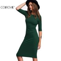 COLROVIE Çalışma Yaz Stili Kadınlar BODYCON Elbiseler Seksi 2017 Yeni Geliş Casual Yeşil Mürettebat Boyun Yarım Kol Midi Elbise