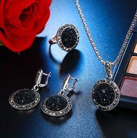 Charm Crystal Jewelry Set Geométrico redondo Negro Collar Drop Pendientes Anillo Conjuntos de joyería de moda para mujeres Party Bijoux Femme