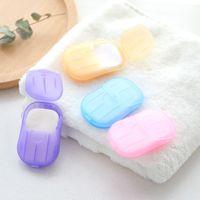 20pcs 야외 여행 비누 종이 씻어 손 목욕 깨끗 한 향기로운 조각 시트 휴대용 미니 종이 비누