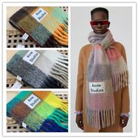 Marque Acne Studios de haute qualité 4 couleurs arc-en-nouvelle grille de laine frangée châle pour hommes et femmes