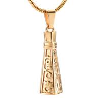 LkJ9940 برج الذهب الشكل التذكارية قلادة جرة مع برغي عقد الإنسان / الحيوان رماد الحرق الفولاذ المقاوم للصدأ والمجوهرات قلادة