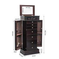 Armadio per gioielli WACO, mobili per organizzatori per la casa, 8 cassetti 16 ganci collana, con specchio, 2 porte a battente laterali, gioielli armadio armadio scaffale per stoccaggio - Brown