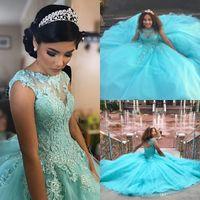 Bella Aqua Blue Quinceanera Abiti Abito da ballo Abito da ballo Sheer Neck Applique Beaded Prom Dress Open Back Tulle Sweet 16 Abiti Best Vestidos 15 ANOS