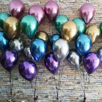 50 adet / grup 12 inç Yeni Parlak Metal Inci Lateks Balonlar Kalın Krom Metalik Renkler Hava Balonları Doğum Günü Partisi Dekor