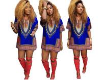 Fashion Summer Print Dresses African Dashiki Shirt Kaftan V-neck Boho Hippie Gypsy Festival Top Women Clothing 7 color S-XL