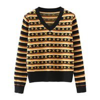 Women sweater pullover 2020 new retro beaded stripes small f...