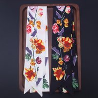 Модные аксессуары 130 см * 7 см новый цветочный принт шарф женский связанный мешок ручка лента повязка шарфы маленький шарф
